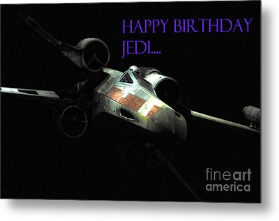 Jedi Birthday Card Metal Print by Micah May