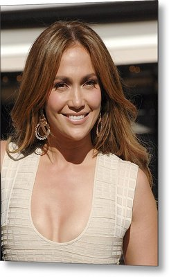 Jennifer Lopez At The Press Conference Metal Print by Everett