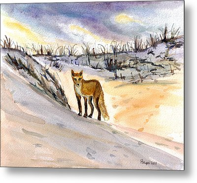 Metal Print featuring the painting Jersey Shore Fox by Clara Sue Beym