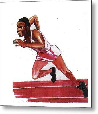 Jesse Owens Metal Print by Emmanuel Baliyanga