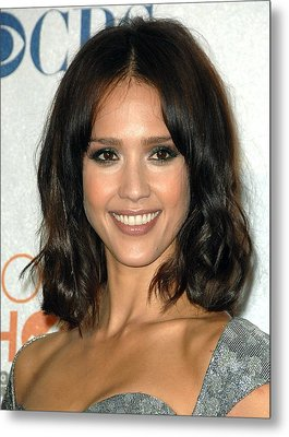 Jessica Alba In The Press Room Metal Print