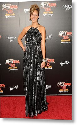 Jessica Alba Wearing A Dress By Dolce & Metal Print by Everett