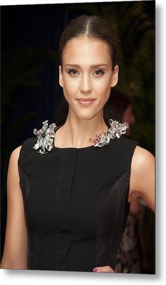 Jessica Alba Wearing A Marios Schwab Metal Print by Everett