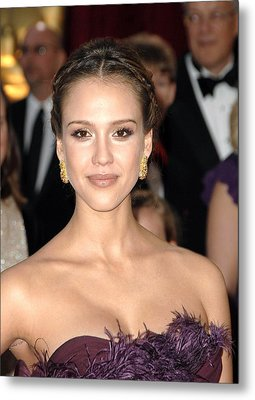 Jessica Alba Wearing Cartier Earrings Metal Print