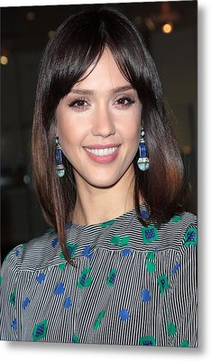 Jessica Alba Wearing Vintage Earrings Metal Print