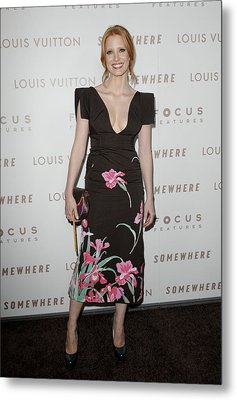 Jessica Chastain Wearing A Louis Metal Print by Everett