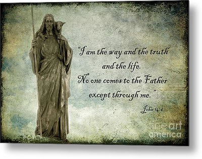 Jesus - Christian Art - Religious Statue Of Jesus - Bible Quote Metal Print by Kathy Fornal