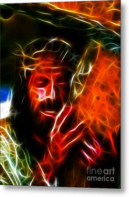 Jesus Carrying The Cross No2 Metal Print by Pamela Johnson