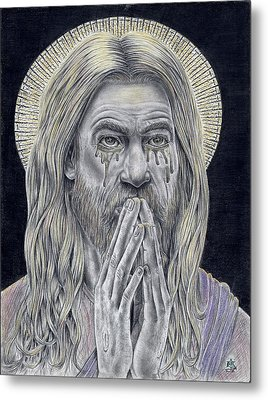 Jesus Crying For Us Metal Print by Vincnt Clark