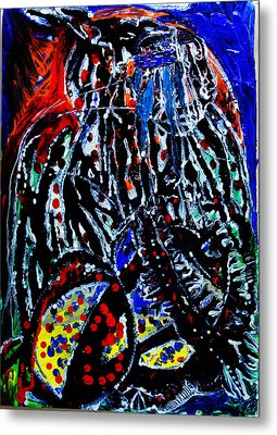 Metal Print featuring the painting Jesus Meets Mary On Calvary by Gloria Ssali