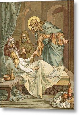 Jesus Raising Jairus's Daughter Metal Print by John Lawson