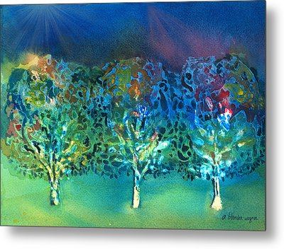 Metal Print featuring the mixed media Jeweled Trees by Arline Wagner