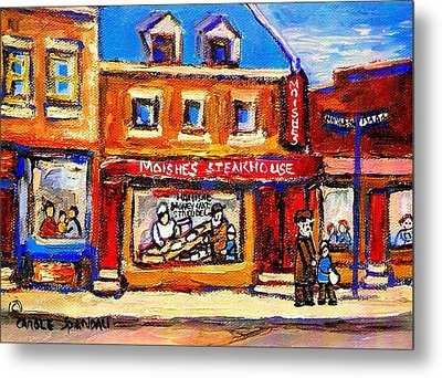 Jewish Montreal Vintage City Scenes Moishes St. Lawrence Street Metal Print by Carole Spandau