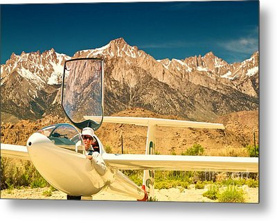 Jim Archer And Kestrel Sailplane Lone Pine California Metal Print