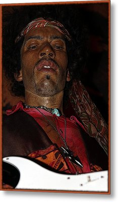 Jimi Hendrix Cartoon Metal Print by Sophie Vigneault