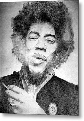 Jimi Hendrix - Small Metal Print by Robert Lance