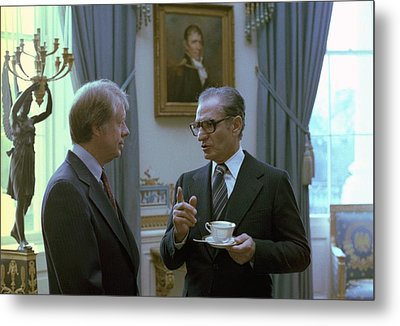 Jimmy Carter And The Shah Of Iran Talk Metal Print by Everett