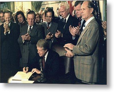 Jimmy Carter Signs Airline Deregulation Metal Print by Everett