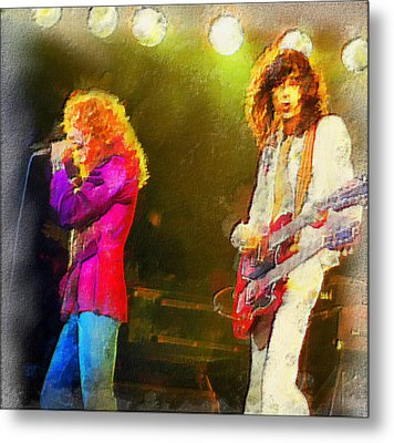 Jimmy Page And Robert Plant Metal Print by Galeria Zullian  Trompiz