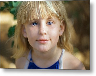 Portrait Of A Young Girl Metal Print by Mark Greenberg