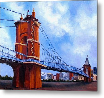 Metal Print featuring the painting John A. Roebling Bridge by Suzzanna Frank