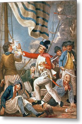 John Paul Jones Shooting A Sailor Who Had Attempted To Strike His Colours In An Engagement Metal Print by John Collet