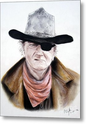 Metal Print featuring the pastel John Wayne  by Jim Fitzpatrick