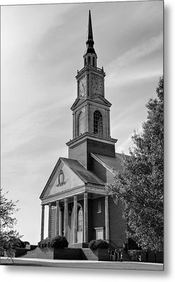 John Wesley Raley Chapel Black And White Metal Print by Ricky Barnard