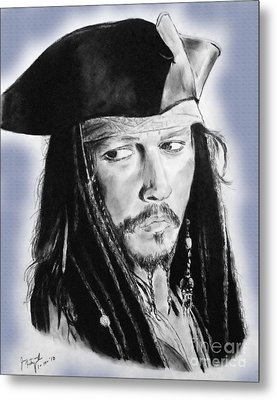 Johnny Depp As Captain Jack Sparrow In Pirates Of The Caribbean II Metal Print by Jim Fitzpatrick
