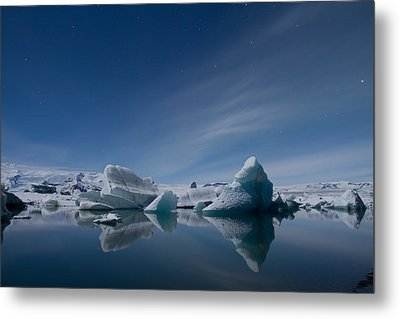 Jokulsarlon At Night Metal Print by Andres Leon