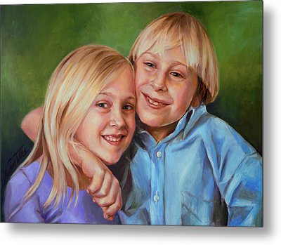 Metal Print featuring the painting Jonathan And Jessica by Nancy Tilles