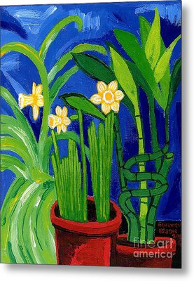 Jonquils And Bamboo Plant Metal Print by Genevieve Esson
