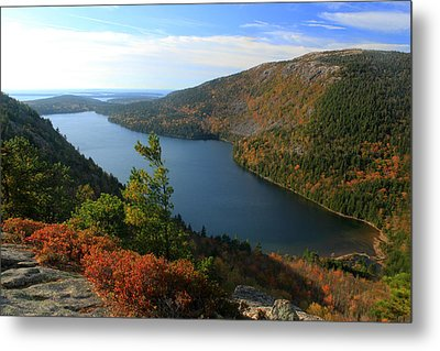 Jordan Pond In Autumn From North Bubble Acadia National Park Metal Print by John Burk