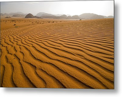 Jordan Wadi Rum Sand Dunes Pattern Metal Print by Jason Jones Travel Photography