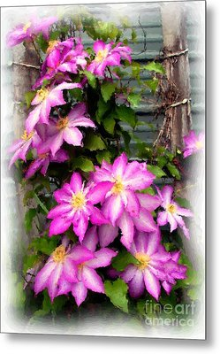 Metal Print featuring the painting Joy Clematis by Susan Fisher