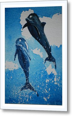 Metal Print featuring the painting Jump For Joy.......miniature by Lynn Hughes