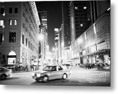 Junction Of Salisbury Road And Nathan Road Tsim Sha Tsui Kowloon At Night Hong Kong Hksar China Asia Metal Print by Joe Fox