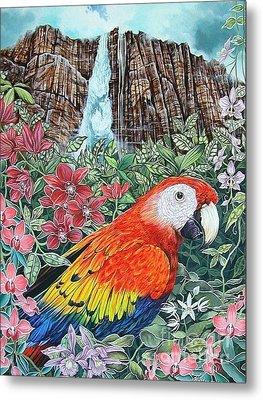 Jungle Parrot Metal Print by Kimberlee  Ketterman Edgar