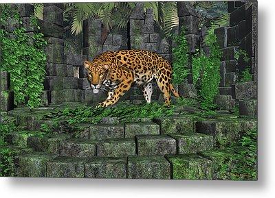 Jungle Ruins Jaguar Metal Print by Walter Colvin