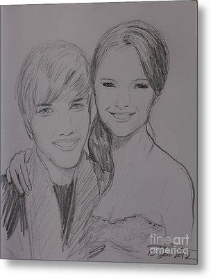 Justin And Selena Metal Print by Amanda Li
