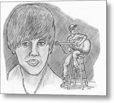 Metal Print featuring the drawing Justin Bieber- Bieber Fever by Chris  DelVecchio