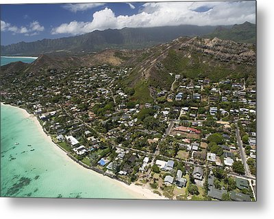 Kailua Aerial Metal Print by Peter French