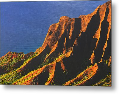 Kalalau Valley Sunset In Kauai Metal Print by Hegde Photos