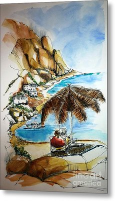 Metal Print featuring the painting Kalymnos 2 by Therese Alcorn