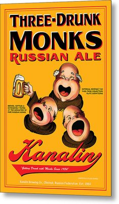 Kanalin Three Drunk Monks Metal Print by John OBrien