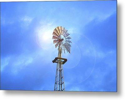 Kansas Windmill In The Sun Metal Print