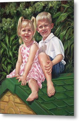 Metal Print featuring the painting Katie And Mitchell by Nancy Tilles