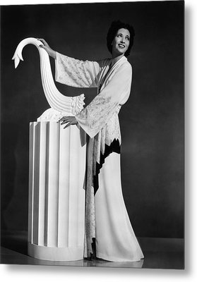 Kay Francis Modeling White-crepe Metal Print by Everett