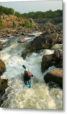 Kayaker Running Waterfalls At Great Metal Print by Skip Brown
