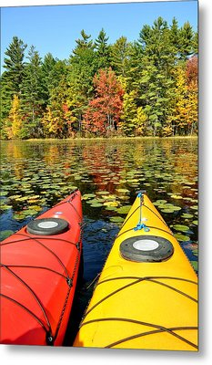 Metal Print featuring the photograph Kayaks In The Fall by Rick Frost